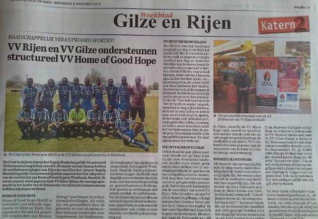 FC Rijen and FC Gilze give support to FC Home of Good Hope